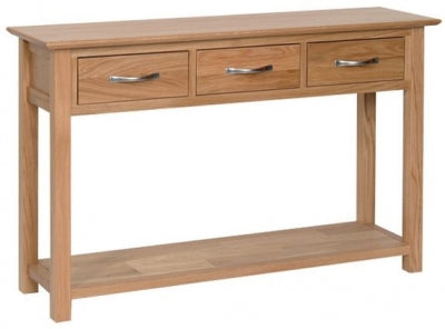 Contemporary Oak 3 DRAWER CONSOLE TABLE