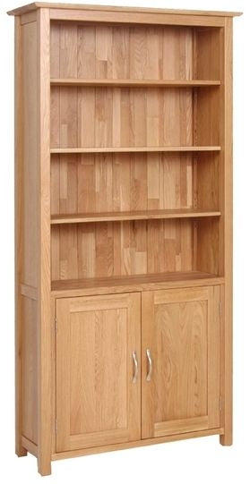 Contemporary Oak BOOKCASE WITH CUPBOARD