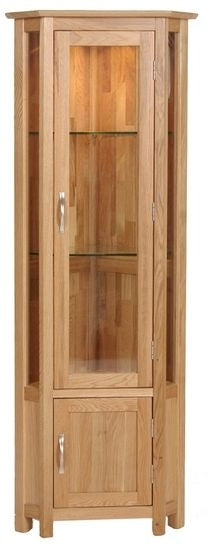 Contemporary Oak CORNER DISPLAY CABINET