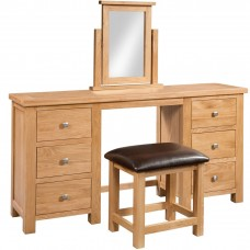Chunky Oak DOUBLE PEDESTAL DRESSING TABLE + STOOL*