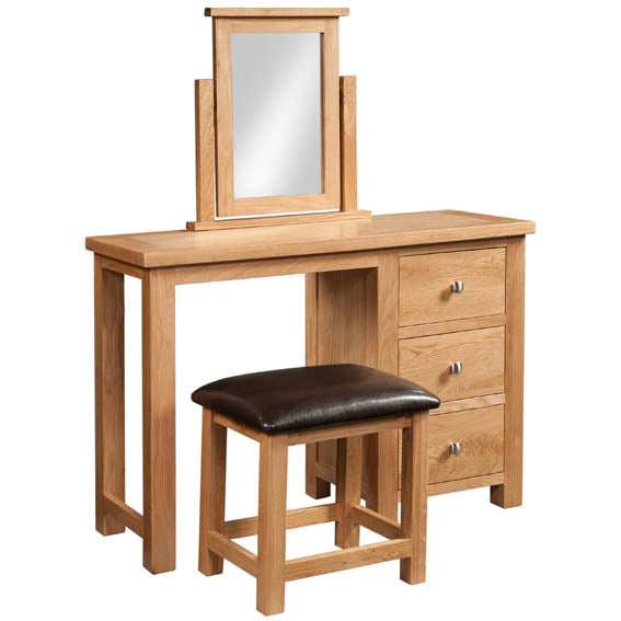 Chunky Oak SINGLE PEDESTAL DRESSING TABLE + STOOL