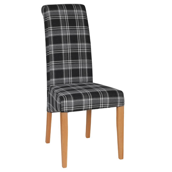 FABRIC CHAIR - GREY TARTAN