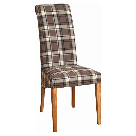 FABRIC CHAIR - BROWN TARTAN