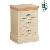3 Draw Bedside Painted with Oak Top