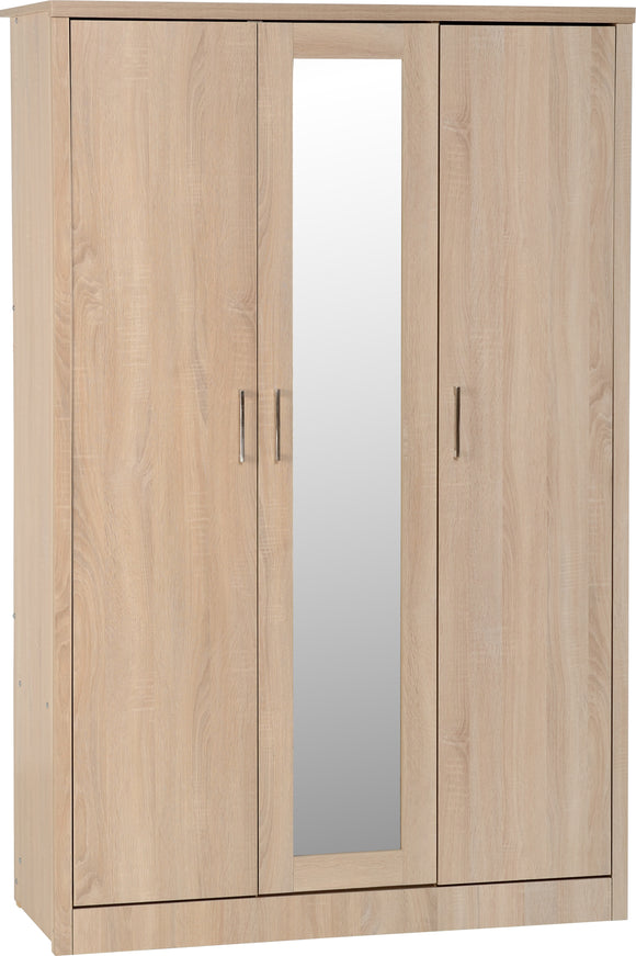 Light Oak Effect Veneer 3 Door Wardrobe