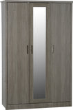 Black Wood Grain 3 Door Wardrobe