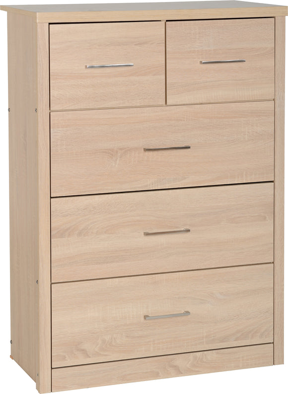 Light Oak Effect Veneer 3+2 Drawer Chest