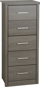 Black Wood Grain 5 Drawer Narrow Chest