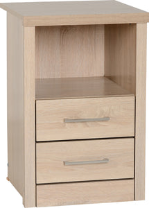 Light Oak Effect Veneer 2 Drawer 1 Shelf Bedside Cabinet