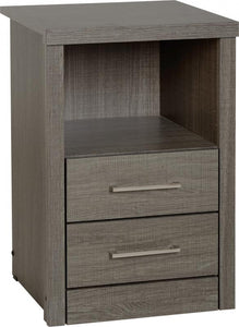 Black Wood Grain 2 Drawer 1 Shelf Bedside Cabinet