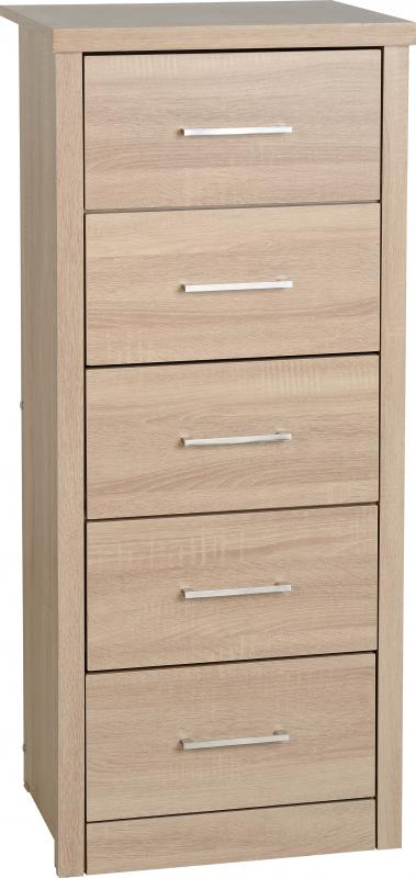 Light Oak Effect Veneer 5 Drawer Narrow Chest
