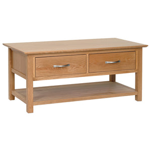 Contemporary Oak COFFEE TABLE WITH DRAWERS
