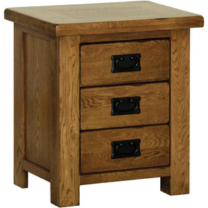 Rustic Oak SMALL 3 DRAWER BEDSIDE