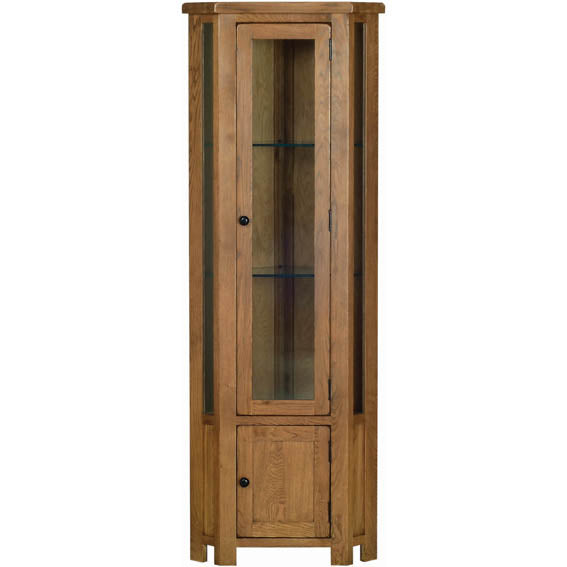 Rustic Oak CORNER DISPLAY CABINET