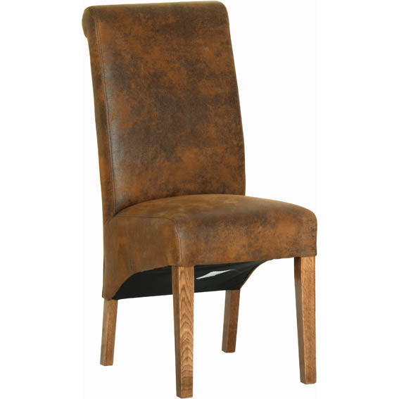 Rustic Oak BISON FABRIC DINING CHAIR