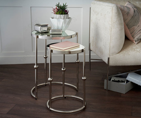 Mirrored Top and Nickel Nest of Tables