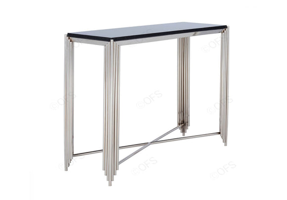 Black Granite Top and Nickel Console Table