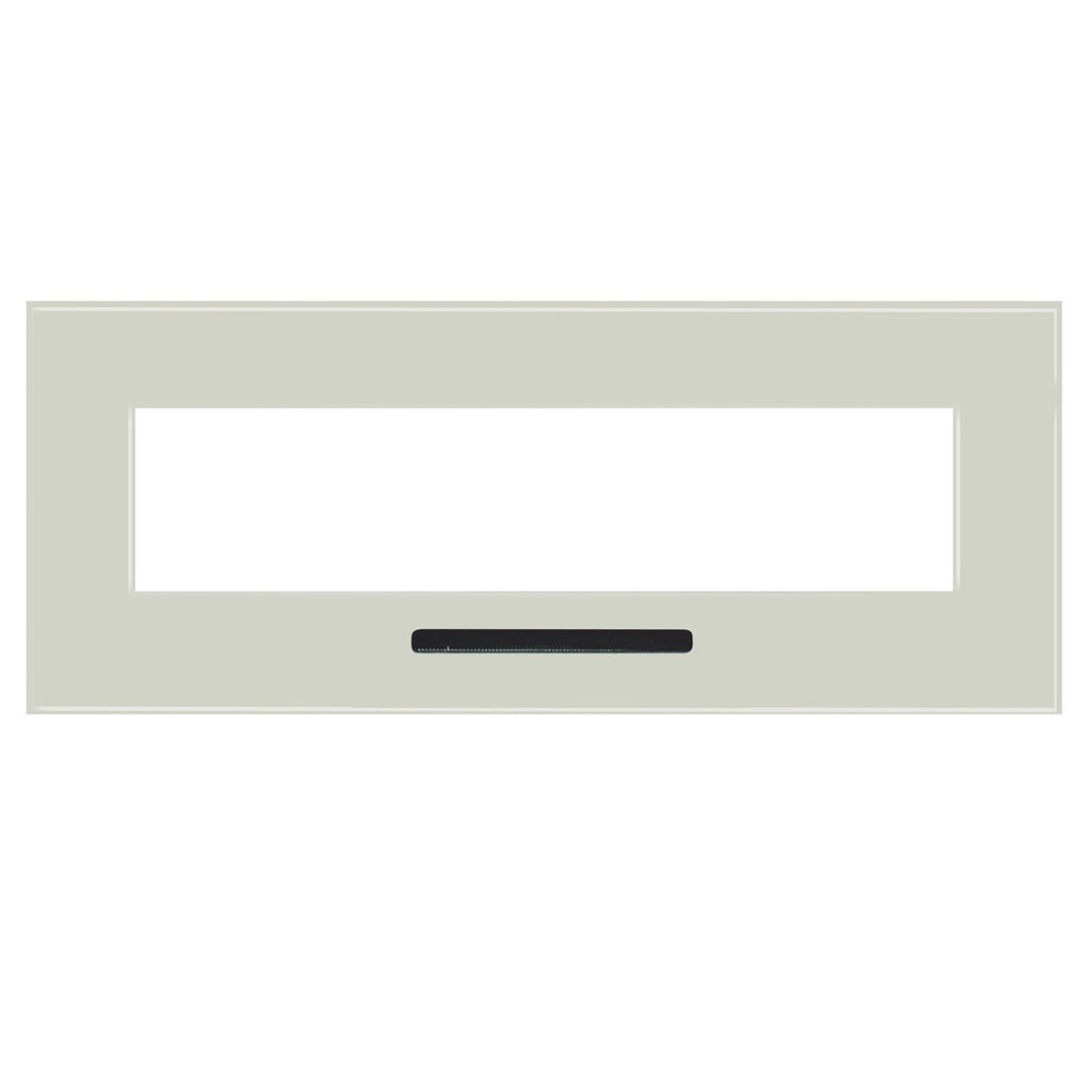 "Optional  100 x 23"" white glass surround with single slot & back-lighting"