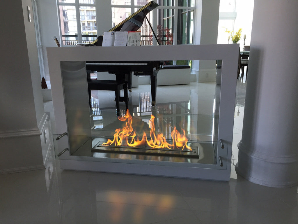 "The Bio Flame Sek XL - 53"" UL Listed Free Standing See-Through Ethanol Fireplace"