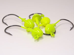 Chicken Richard Jig Heads, Chartreuse Heads,3/0, 3/8 oz, qty 5