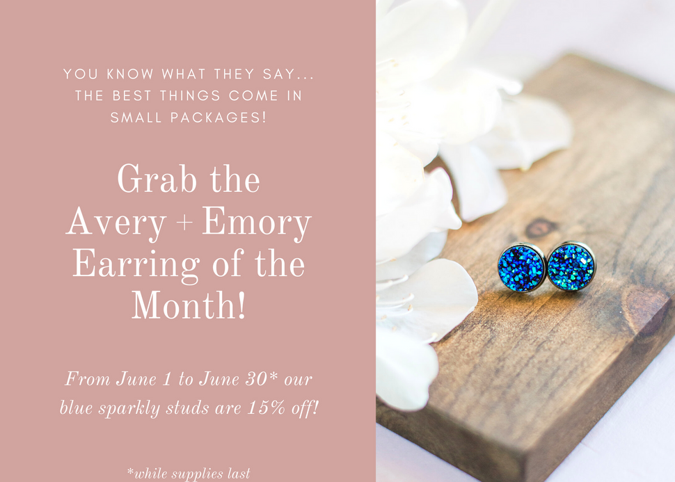 Earring of the month sparkly blue stud earrings