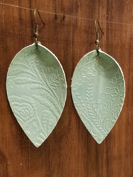 Mint Faux Leather Petal Earrings - Avery + Emory Designs