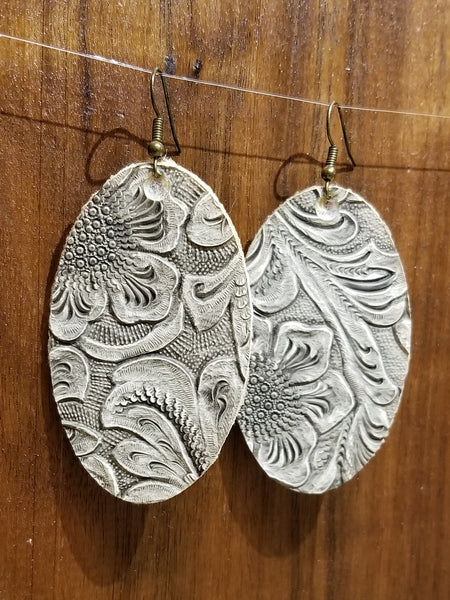 White Embossed Faux Leather Large Oval Earrings - Avery + Emory Designs