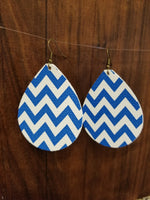 Blue and White Chevron Faux Leather Large Teardrop Earrings - Avery + Emory Designs