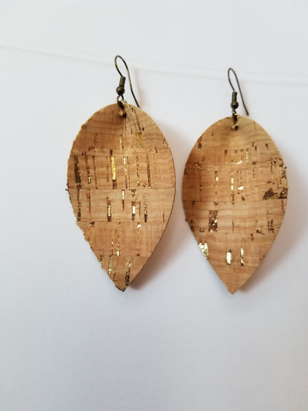 Cork Petal Earrings with Gold Flecks - Avery + Emory Designs
