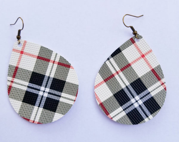Black, Cream, and Red Plaid Teardrop Earrings - Avery + Emory Designs