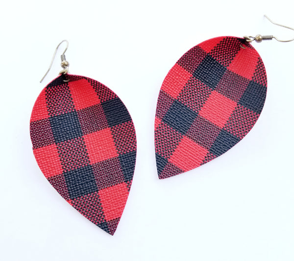 Buffalo Plaid Petal Earrings - Avery + Emory Designs