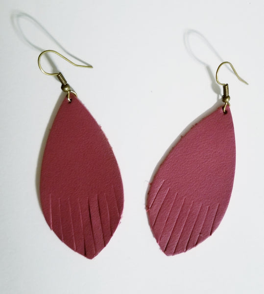 Fuchsia Leather Fringe Feather Earrings - Avery + Emory Designs