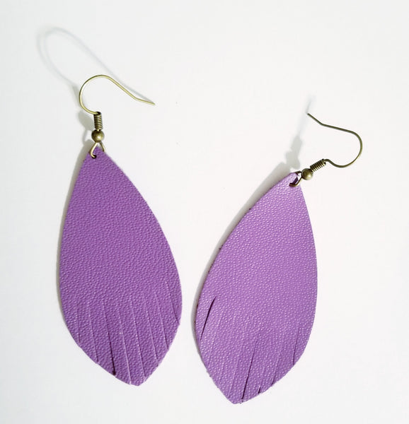 Purple Leather Fringe Feather Earrings - Avery + Emory Designs