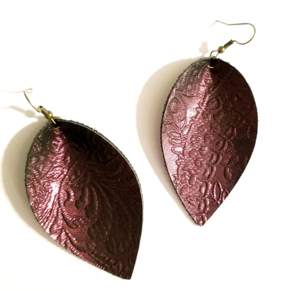 Red Wine Embossed Petal Earrings - Avery + Emory Designs