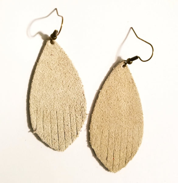 Suede Fringe Feather Earrings - Avery + Emory Designs