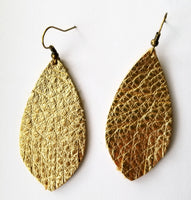 Gold Metallic Fringe Feather Earrings - Avery + Emory Designs