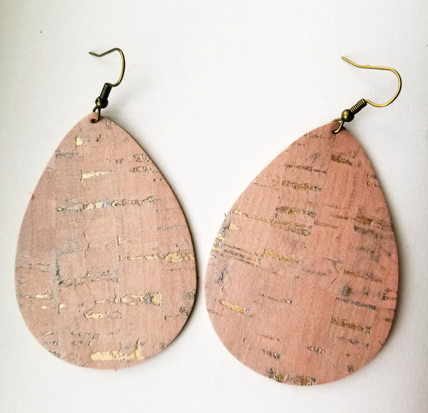 Rose Gold Cork Faux Leather Teardrops - Avery + Emory Designs
