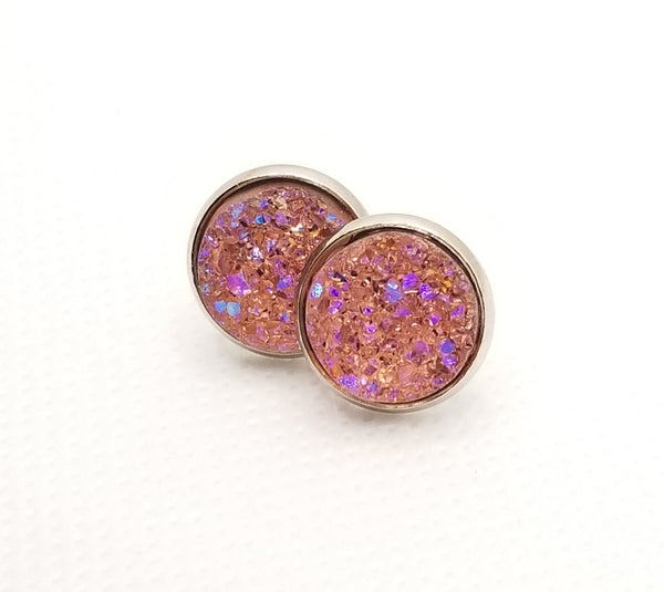 Champagne Pink Druzy-Style Studs - Avery + Emory Designs