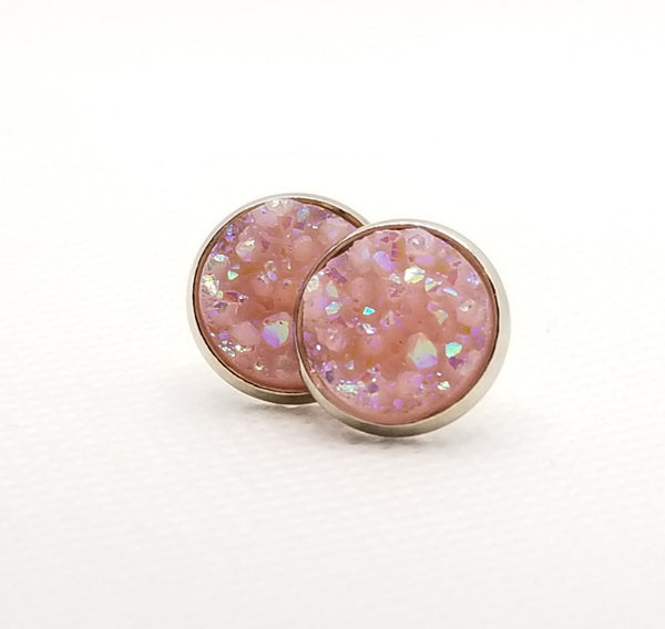 Bubble Gum Pink Druzy-Style Studs - Avery + Emory Designs