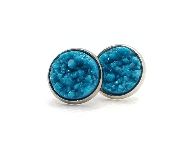 Dark Teal Druzy-Style Studs - Avery + Emory Designs
