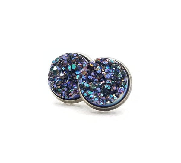 Purple/Teal/Silver Sparkle Druzy-Style Studs - Avery + Emory Designs