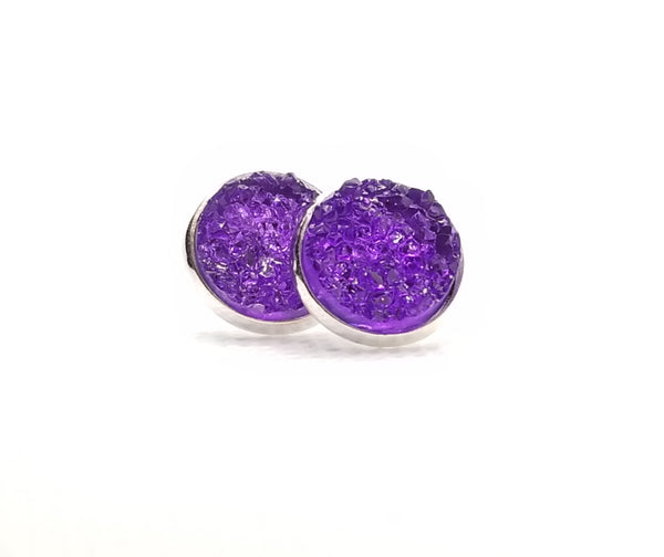 Purple Druzy-Style Stud Earrings - Avery + Emory Designs