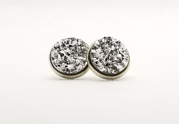 Light Silver Druzy-Style Studs - Avery + Emory Designs