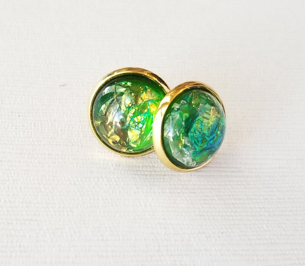Green Marbled Druzy-Style Studs - Avery + Emory Designs