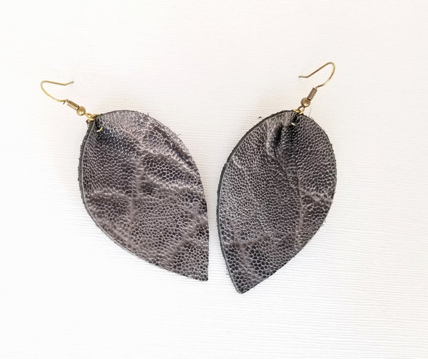 Grey Leather Elephant Earrings - Avery + Emory Designs