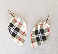 Black, Cream, and Red Plaid Petal Earrings - Avery + Emory Designs