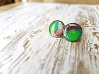 Aurora Borealis Purple/Teal/Green Druzy-Style Studs with Glitter Stars - Avery + Emory Designs