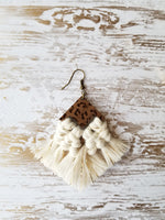 Jackie - Wooden Diamond and Macrame Leopard Earrings - Avery + Emory Designs