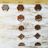 Mandy - Wooden Hexagon and Macrame Leopard Earrings - Avery + Emory Designs