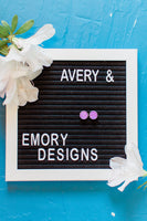 Earring of the Month | Purple Sparkly Studs - Avery + Emory Designs